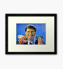 Bill Gates holding a Cheeseburger and Xbox controller Framed Print