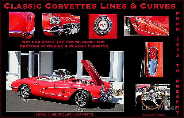 Classic Corvette Lines & Curves Poster 2 by Lisa  Weber