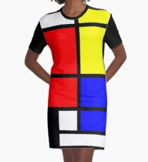 Mondrian style art deco design in basic colors Graphic T-Shirt Dress