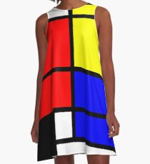 Mondrian style art deco design in basic colors A-Line Dress