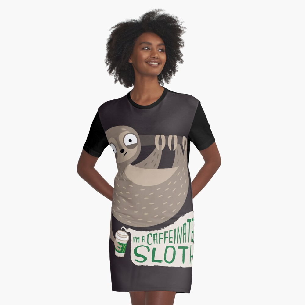 Caffeinated Sloth Graphic T-Shirt Dress Front