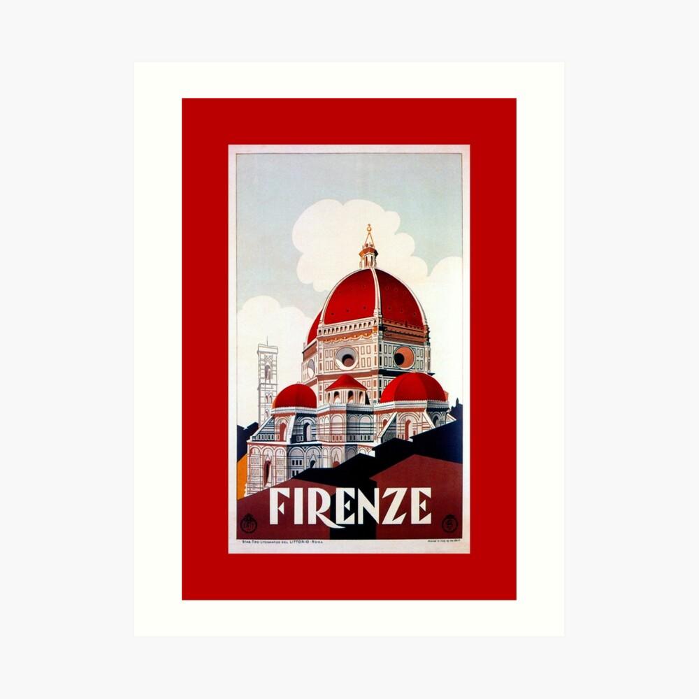 Florence Firenze 1920er Jahre italienische Reiseanzeige, Duomo Kunstdruck