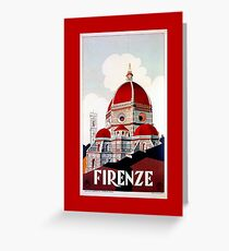 Florence Firenze 1920s Italian travel ad, duomo Greeting Card