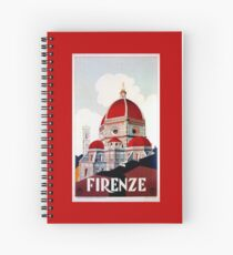 Florence Firenze 1920s Italian travel ad, duomo Spiral Notebook
