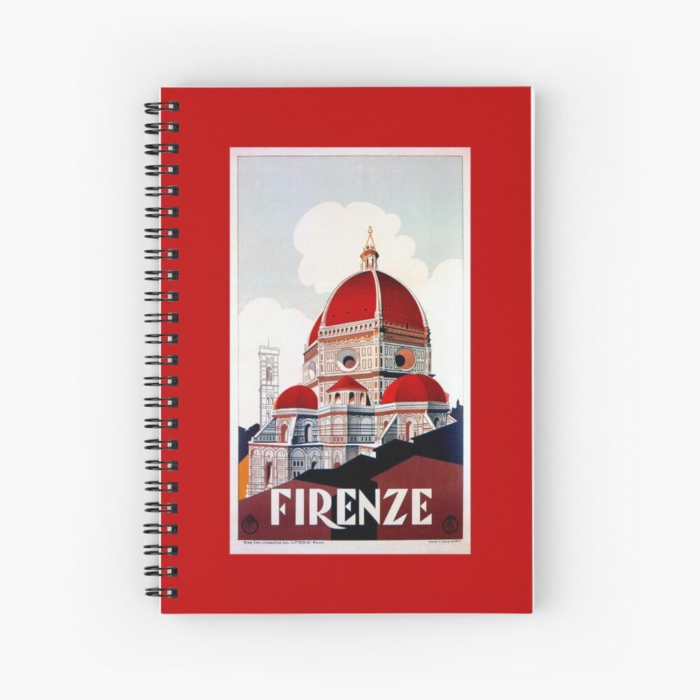 Florence Firenze 1920er Jahre italienische Reiseanzeige, Duomo Spiralblock