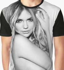 Kate Upton Black and White Graphic T-Shirt