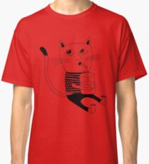 Cat with glass of milk Classic T-Shirt