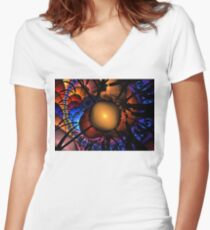 Red Night Spheres Women's Fitted V-Neck T-Shirt