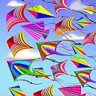 Kites Rainbow Colors in the Wind by BluedarkArt