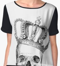 Grinding Skull With Crown Chiffon Top