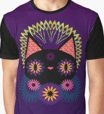 Dark Floral Feline Charm Graphic T-Shirt