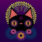 Dark Floral Feline Charm by ssStephG