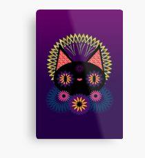 Dark Floral Feline Charm Metal Print