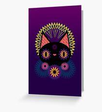 Dark Floral Feline Charm Greeting Card