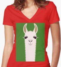 LLAMA PORTRAIT #2 Women's Fitted V-Neck T-Shirt