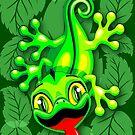 Gecko Lizard Baby Cartoon  by BluedarkArt