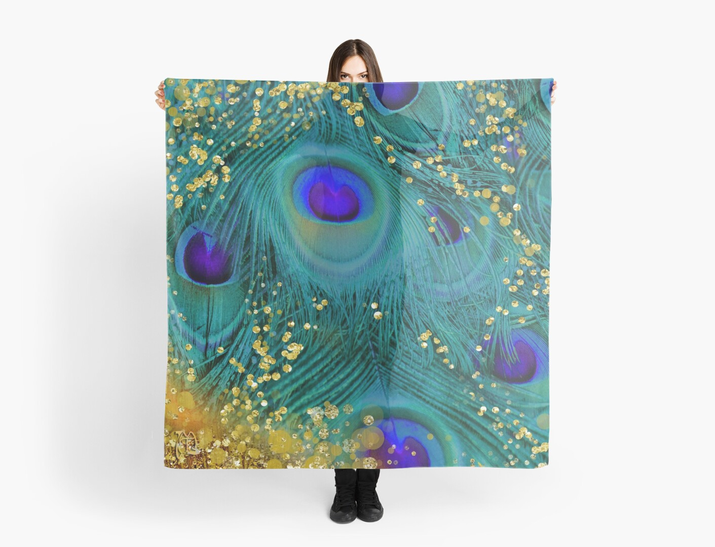 Dreamy peacock feathers, teal and purple, glimmering gold by Glimmersmith