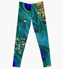 Dreamy peacock feathers, teal and purple, glimmering gold Leggings