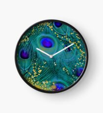 Dreamy peacock feathers, teal and purple, glimmering gold Clock