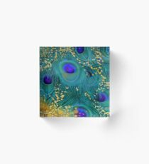 Dreamy peacock feathers, teal and purple, glimmering gold Acrylic Block