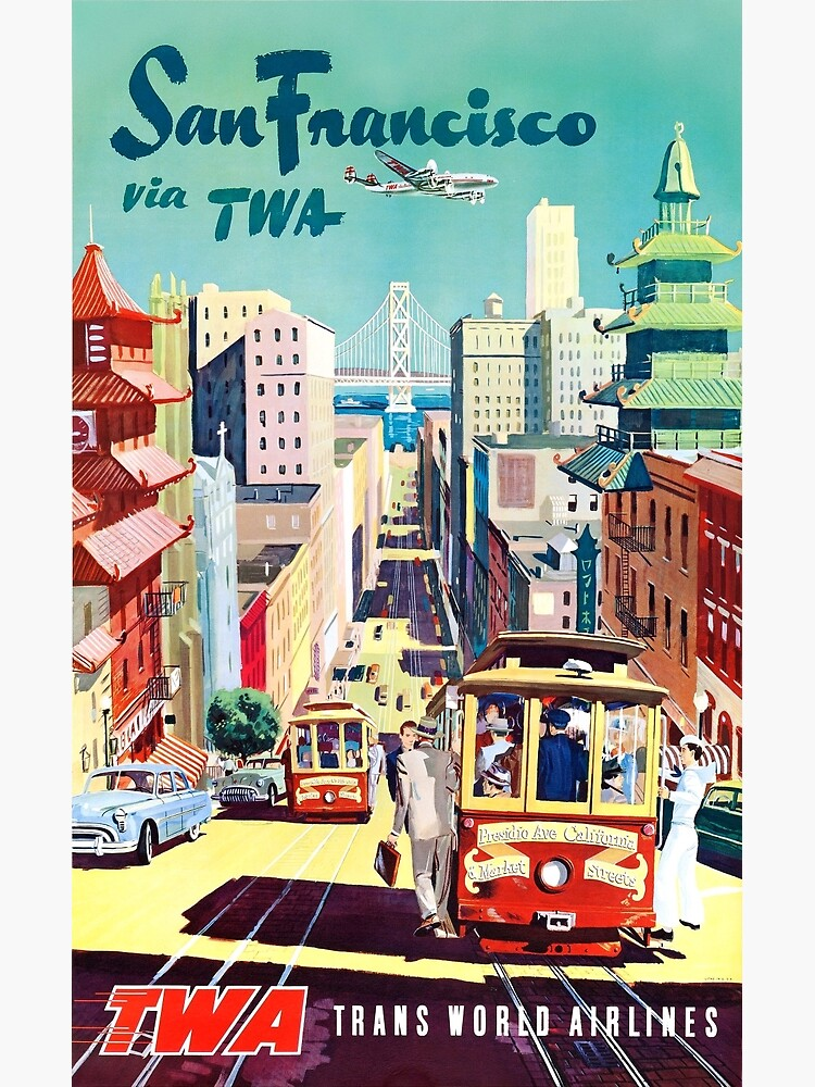 Vintage Travel Poster of San Francisco Cable Car by pdgraphics