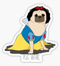Pug White Sticker