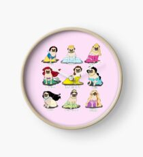 Pug Princesses Clock
