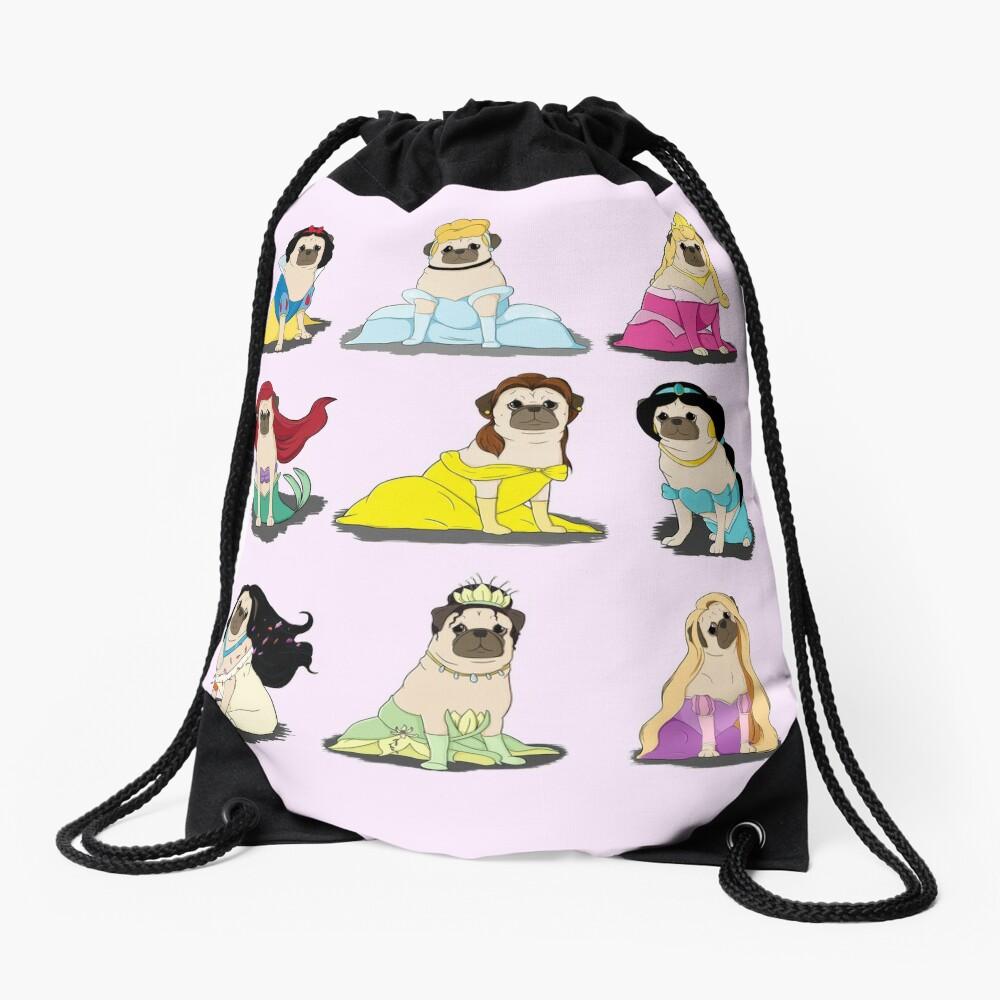 Pug Princesses Version 2 Drawstring Bag