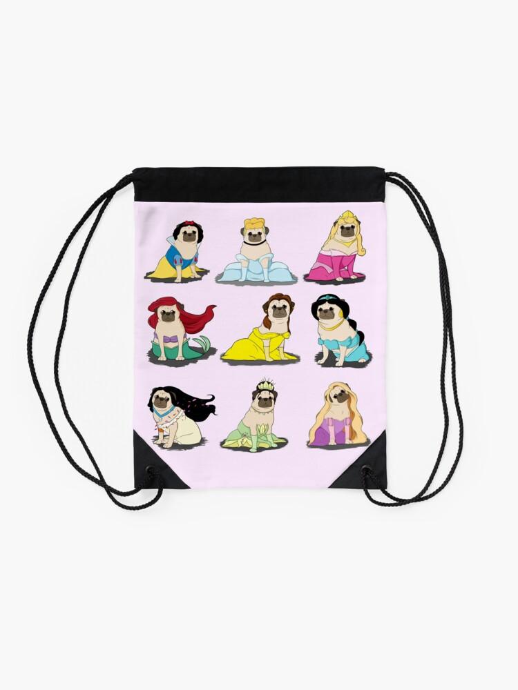 Alternate view of Pug Princesses Version 2 Drawstring Bag