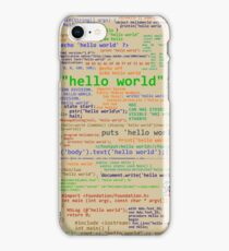 Hello World - Many Programming Languages (light) iPhone Case/Skin