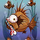 Psycho Fish Piranha with Bloody Bone by BluedarkArt