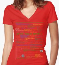 Hello World - Many Programming Languages (dark) Women's Fitted V-Neck T-Shirt