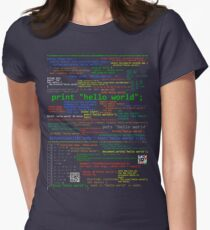 Hello World - Many Programming Languages (dark) Women's Fitted T-Shirt