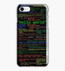 Hello World - Many Programming Languages (dark) iPhone Case/Skin