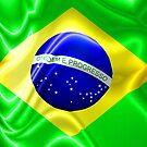 Brazil Flag Waving Silk Fabric by BluedarkArt