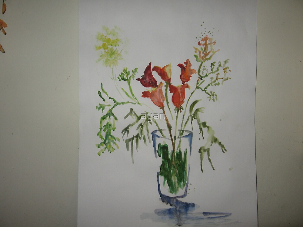 floral painting Size 29x 42 cm by ayan