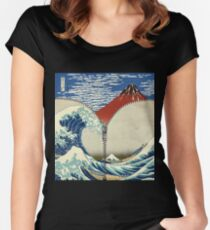 Mt. Fuji and the Wave Women's Fitted Scoop T-Shirt