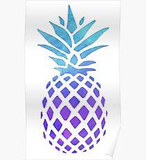 PINEAPPLE BLUE PURPLE WATERCOLOR Poster