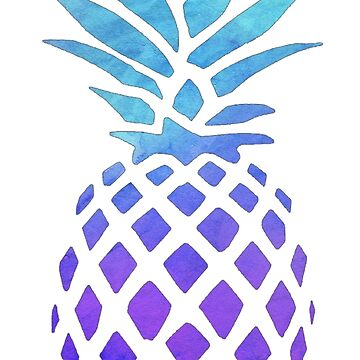 PINEAPPLE BLUE PURPLE WATERCOLOR by katrinawaffles