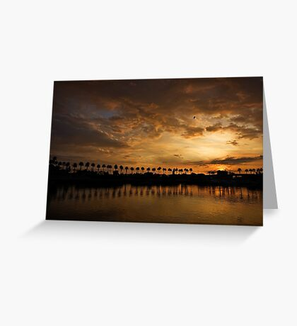 Sunset Palms at Rainbow Harbor Greeting Card