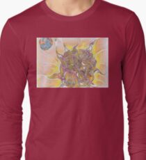 Sun and Earth Abstract Drawing Design Long Sleeve T-Shirt