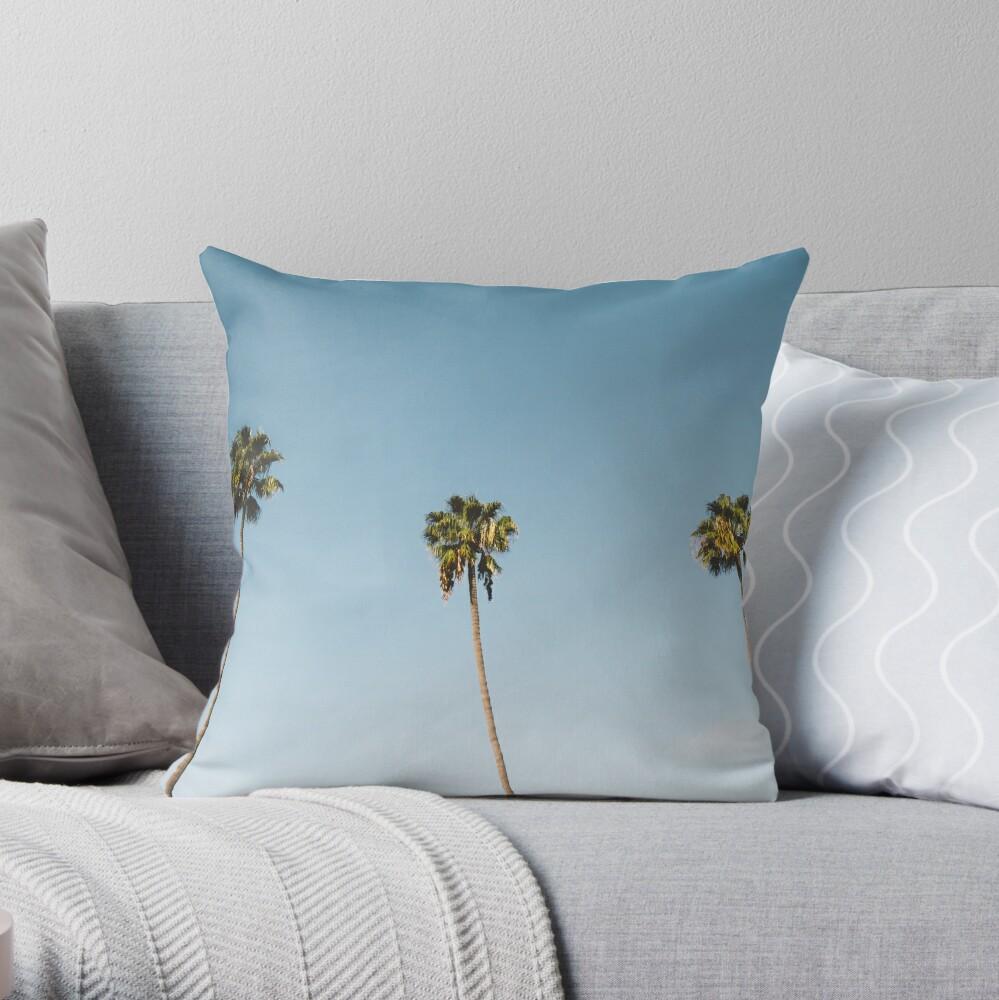 Tres palmeras Blue Sky California Cojín