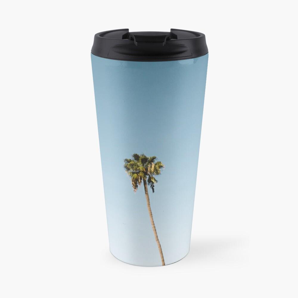Tres palmeras Blue Sky California Taza de viaje