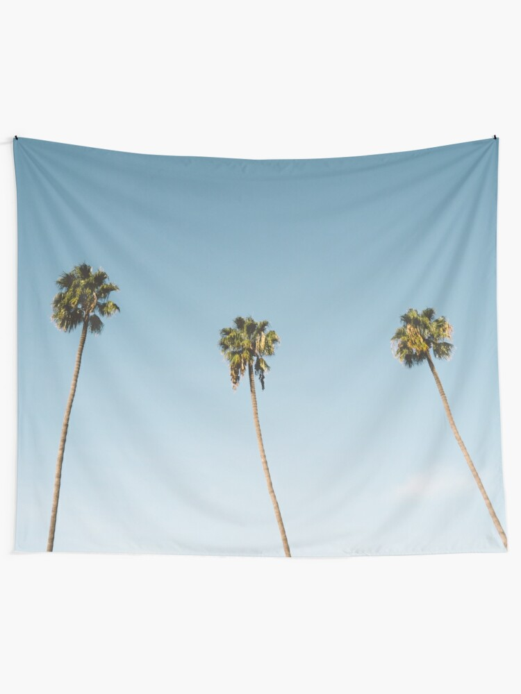 Alternate view of Three Palm Trees Blue Sky California Tapestry