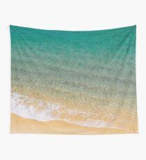 Sea Green Sandy Beach Ocean Wall Tapestry