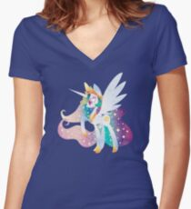 Celestia of Equestria Women's Fitted V-Neck T-Shirt
