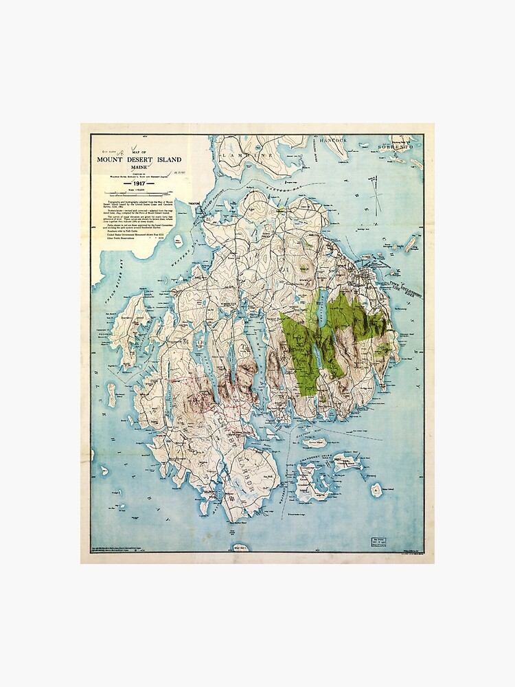 picture about Printable Map of Maine called Map of Mount Desert Island, Maine (1917) Photographic Print