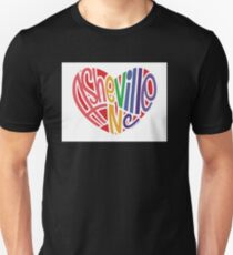 Asheville North Carolina Pride Heart Multicolor Unisex T-Shirt