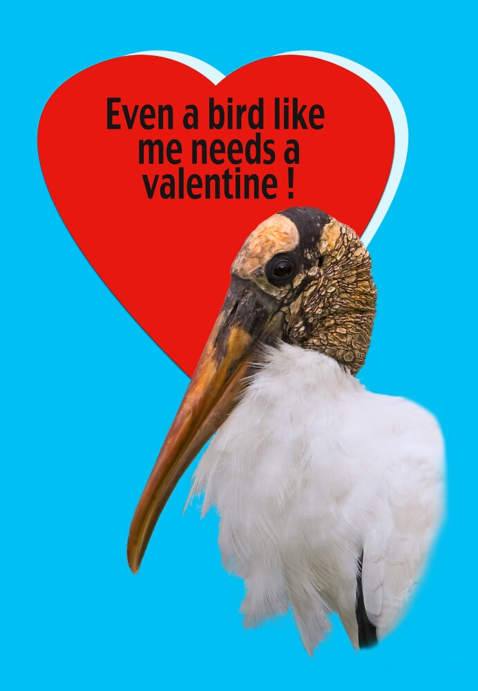 Wood Stork Valentine Card by Delores Knowles