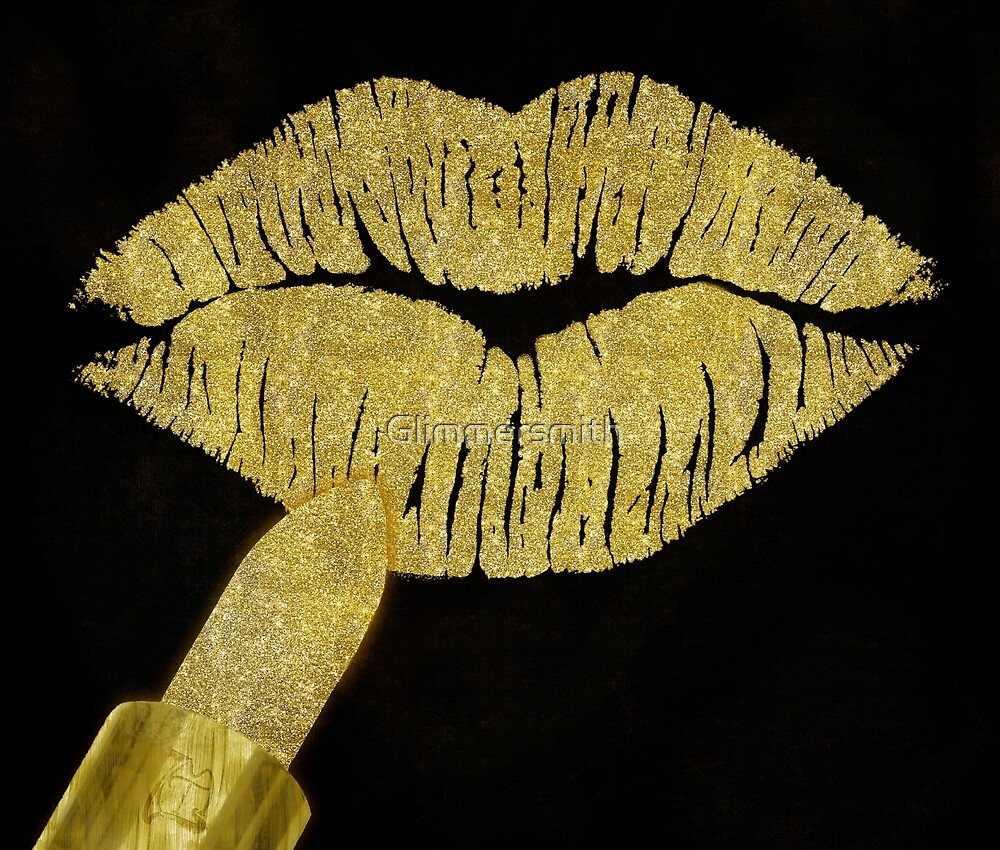 Golden Stardust Kiss lipstick, faux glitter lips, fashion art\